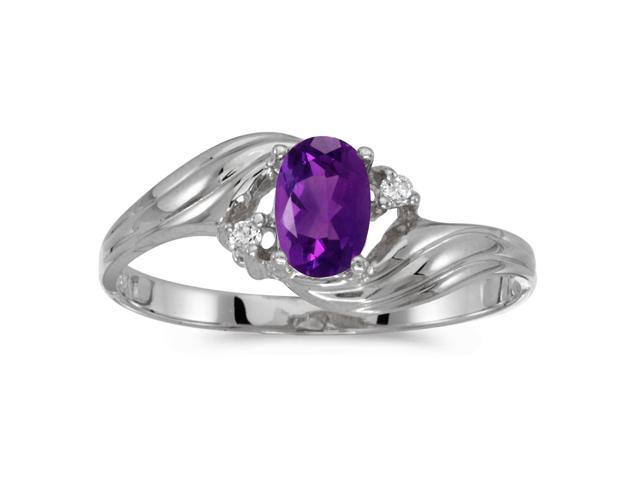 10k White Gold Oval Amethyst And Diamond Ring (Size 7)