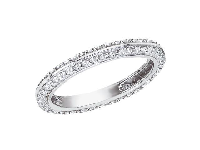 14K White Gold Cathedral Diamond QPID Wedding Band (0.5 tcw)