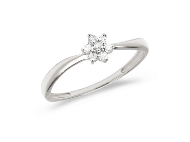 14K White Gold Diamond Cluster Ring (Size 8)