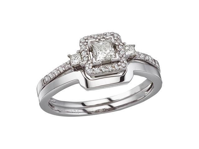 14K White Gold Princess Diamond Band Ring Set (Size 8)