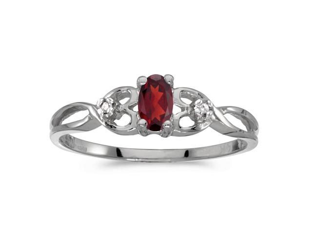 10k White Gold Oval Garnet And Diamond Ring (Size 8.5)