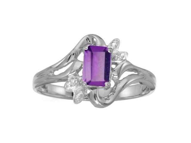 10k White Gold Emerald-cut Amethyst And Diamond Ring (Size 8.5)