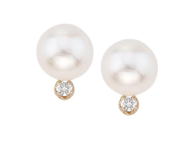 14kt Yellow Gold 8-8.5 mm Freshwater Cultured Pearl and Diamond Stud Earring (.10 carat)