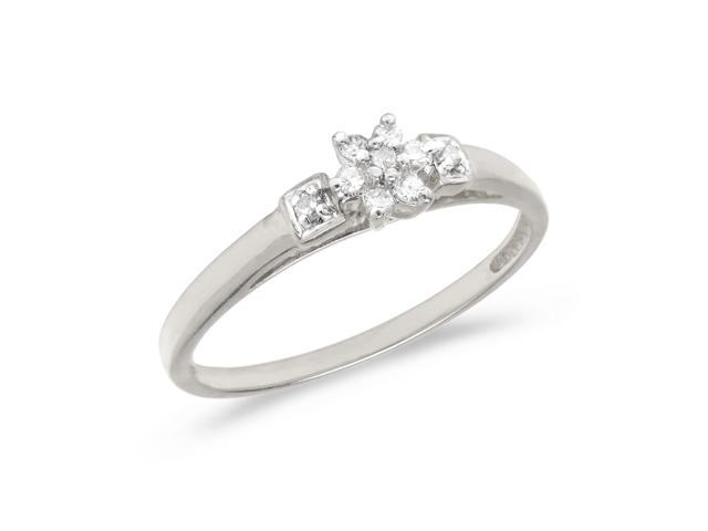 14K White Gold Diamond Cluster Ring (Size 6)