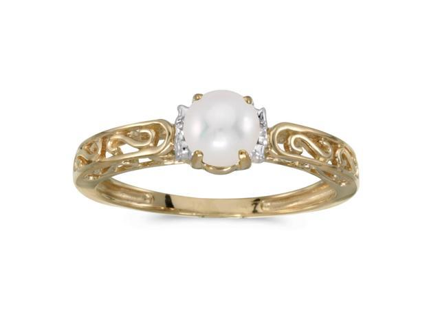 14k Yellow Gold Freshwater Cultured Pearl And Diamond Ring (Size 6.5)