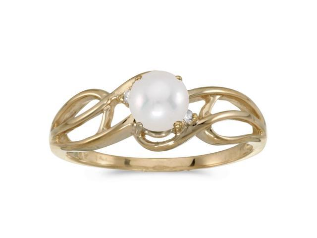 14k Yellow Gold Freshwater Cultured Pearl And Diamond Curve Ring (Size 6.5)
