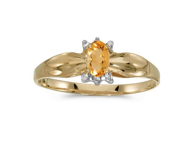 10k Yellow Gold Oval Citrine And Diamond Ring (Size 4.5)