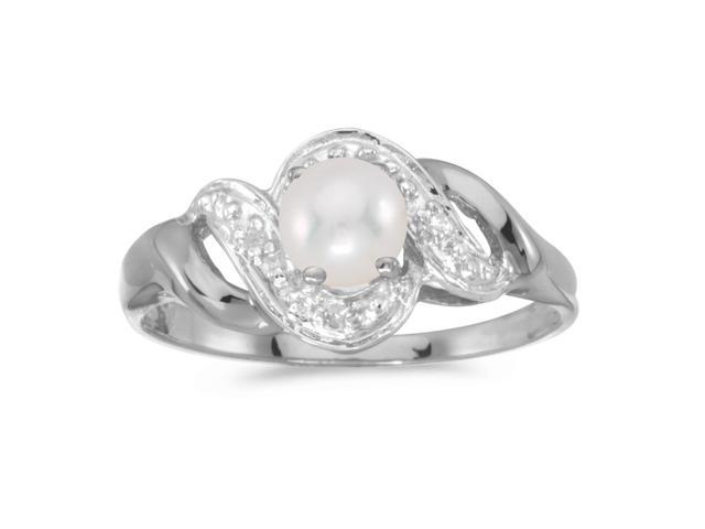10k White Gold Freshwater Cultured Pearl And Diamond Swirl Ring (Size 6.5)