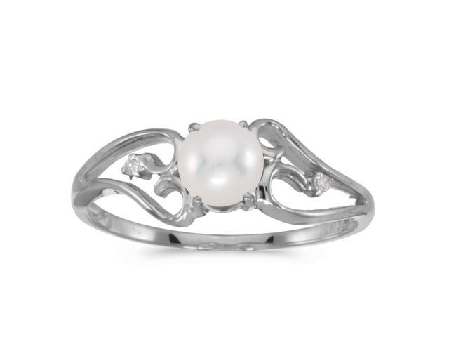 10k White Gold Freshwater Cultured Pearl And Diamond Ring (Size 6)