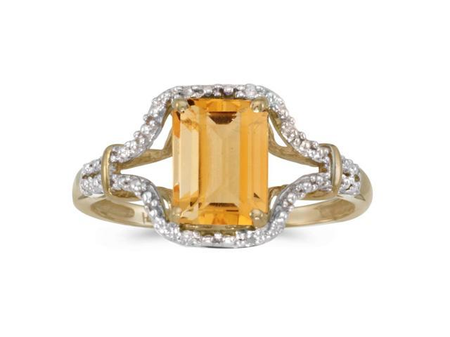 10k Yellow Gold Emerald-cut Citrine And Diamond Ring (Size 8)