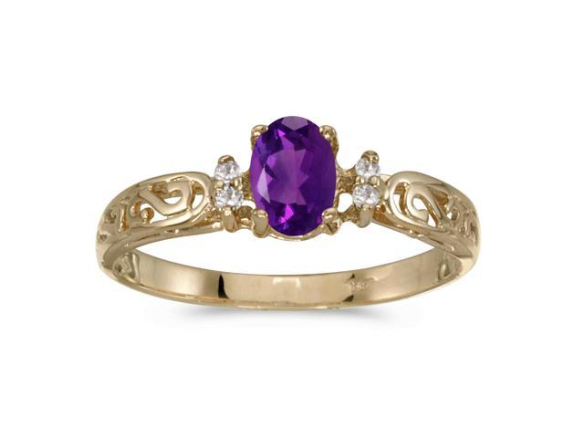 10k Yellow Gold Oval Amethyst And Diamond Ring (Size 5)