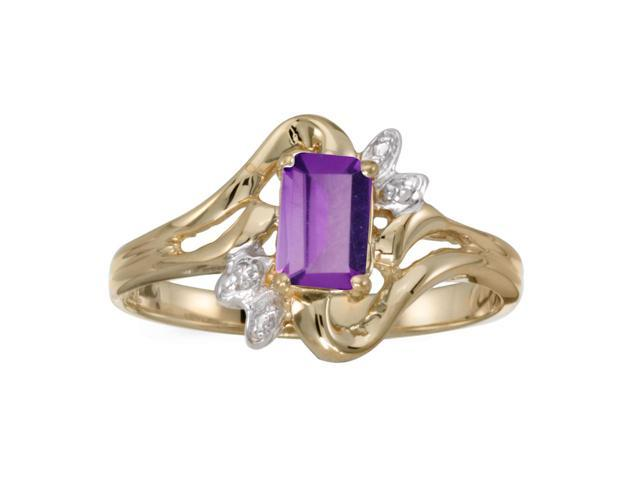 14k Yellow Gold Emerald-cut Amethyst And Diamond Ring (Size 6)