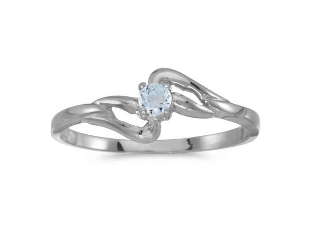 14k White Gold Round Aquamarine Ring (Size 8.5)