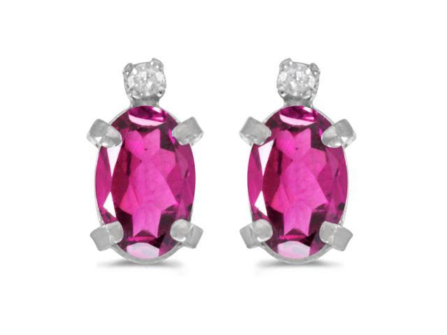 Sterling Silver Oval Pink Topaz and Diamond Earrings