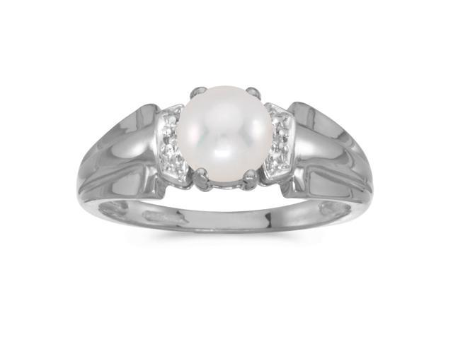 10k White Gold Freshwater Cultured Pearl And Diamond Ring (Size 5)
