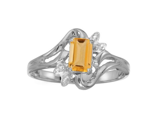 10k White Gold Emerald-cut Citrine And Diamond Ring (Size 5.5)