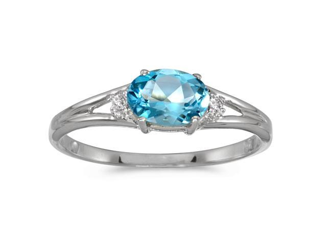 14k White Gold Oval Blue Topaz And Diamond Ring (Size 6)