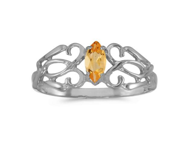 10k White Gold Marquise Citrine Filagree Ring (Size 8)