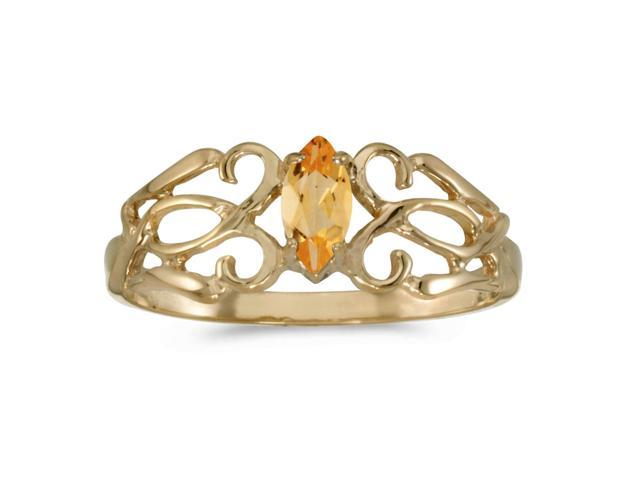 10k Yellow Gold Marquise Citrine Filagree Ring (Size 6.5)