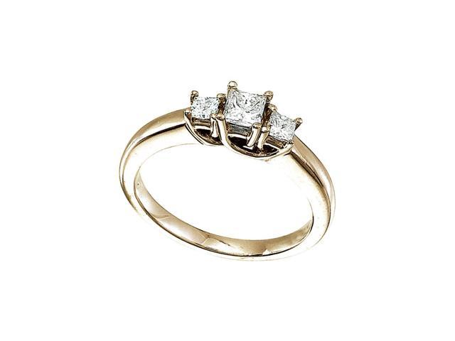 14k Yellow Gold 0.50 Ct Three Stone Trellis Diamond Ring (Size 7.5)