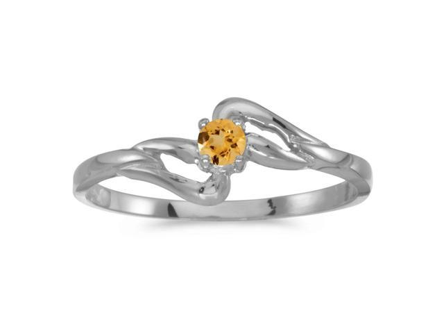14k White Gold Round Citrine Ring (Size 7)