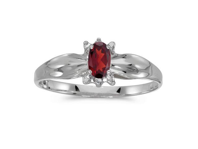 10k White Gold Oval Garnet And Diamond Ring (Size 9)