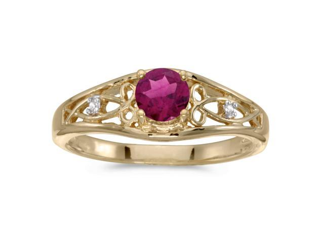 14k Yellow Gold Round Rhodolite Garnet And Diamond Ring (Size 5)