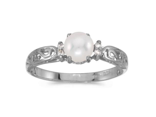 14k White Gold Freshwater Cultured Pearl And Diamond Filagree Ring (Size 11)
