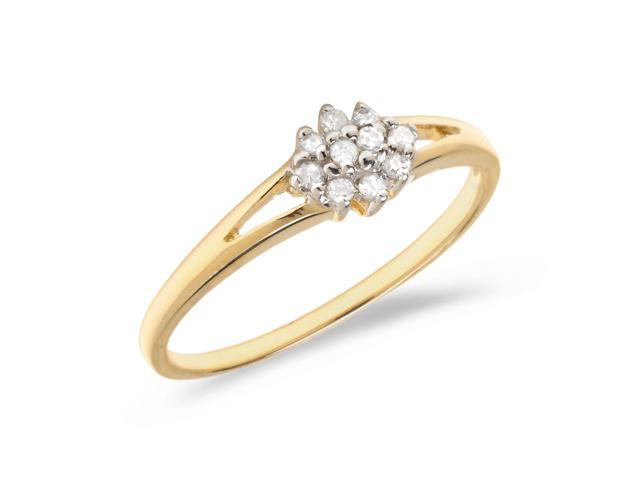 10K Yellow Gold Diamond Cluster Ring (Size 5)