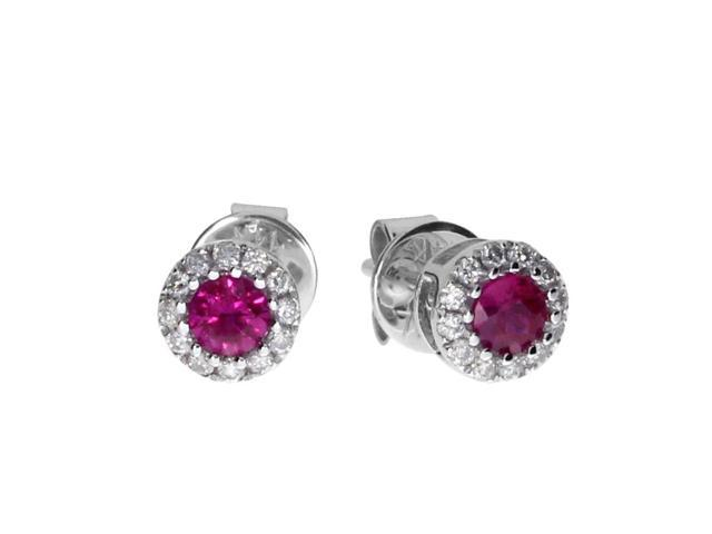 14k White Ruby and Diamond Round Earring