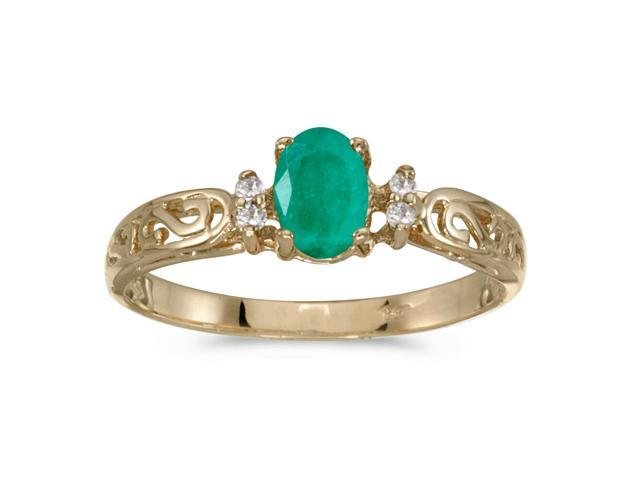 10k Yellow Gold Oval Emerald And Diamond Ring (Size 8.5)