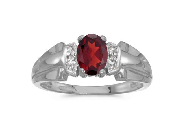14k White Gold Oval Garnet And Diamond Ring (Size 6)
