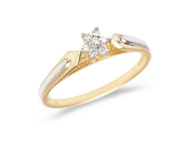 10K Yellow Gold Diamond Cluster Ring (Size 9)