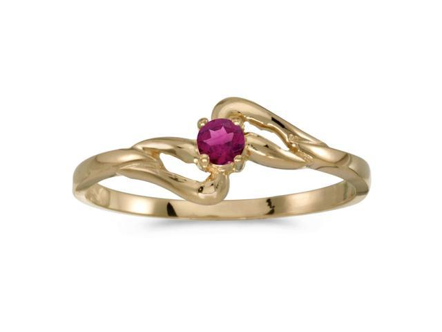 10k Yellow Gold Round Rhodolite Garnet Ring (Size 5.5)