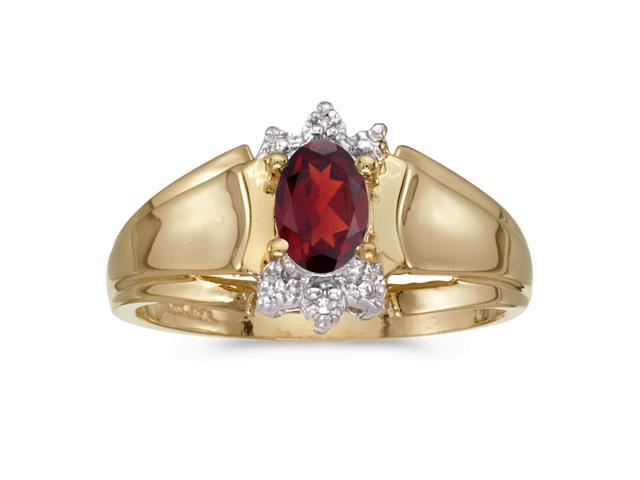 10k Yellow Gold Oval Garnet And Diamond Ring (Size 5.5)