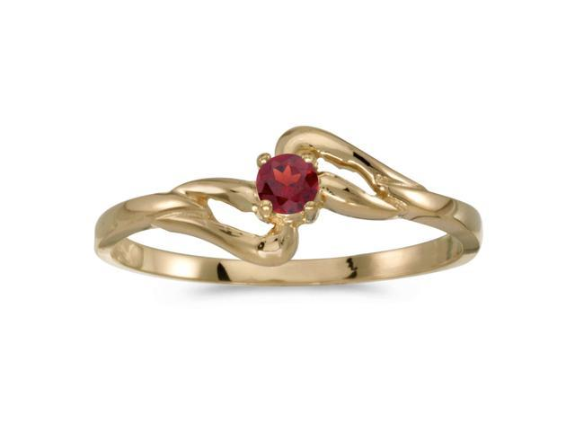 10k Yellow Gold Round Garnet Ring (Size 7)