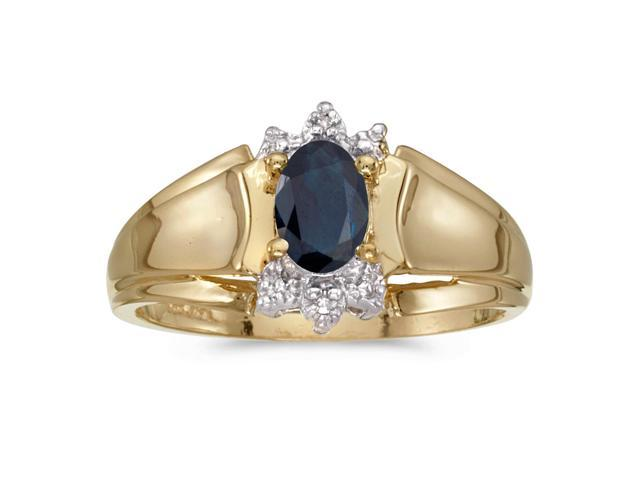 10k Yellow Gold Oval Sapphire And Diamond Ring (Size 9)