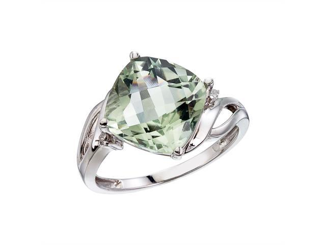 14K White Gold Green Amethyst and Diamond Cushion Ring (Size 6.5)