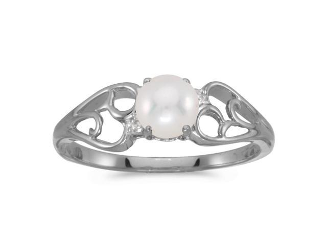 14k White Gold Freshwater Cultured Pearl And Diamond Ring (Size 7.5)