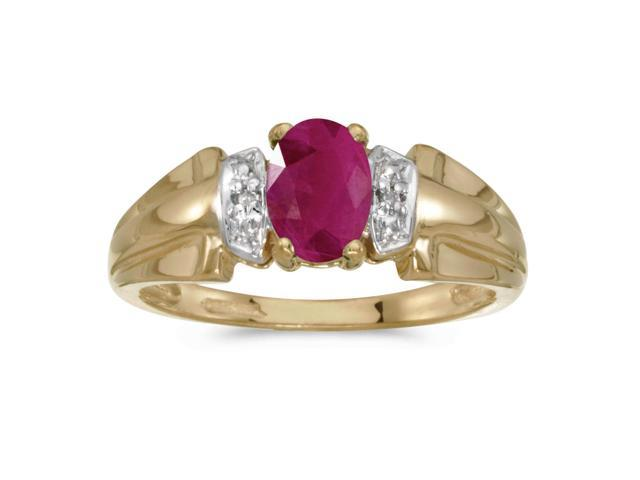 14k Yellow Gold Oval Ruby And Diamond Ring (Size 7)