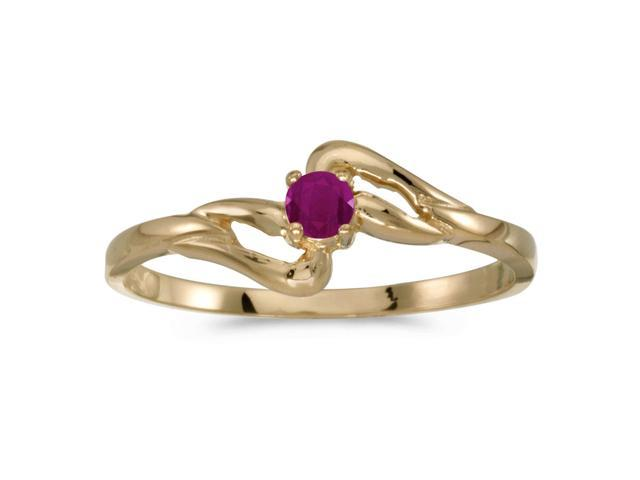 10k Yellow Gold Round Ruby Ring (Size 7.5)