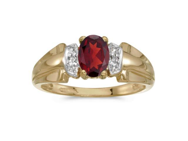 14k Yellow Gold Oval Garnet And Diamond Ring (Size 8)