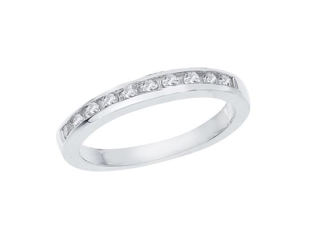 14K White Gold Channel-Set Diamond QPID Wedding Band (0.25 tcw)