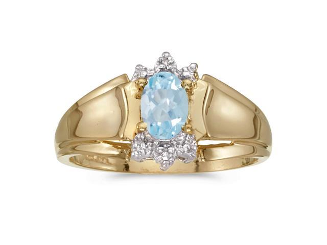 14k Yellow Gold Oval Aquamarine And Diamond Ring (Size 9)