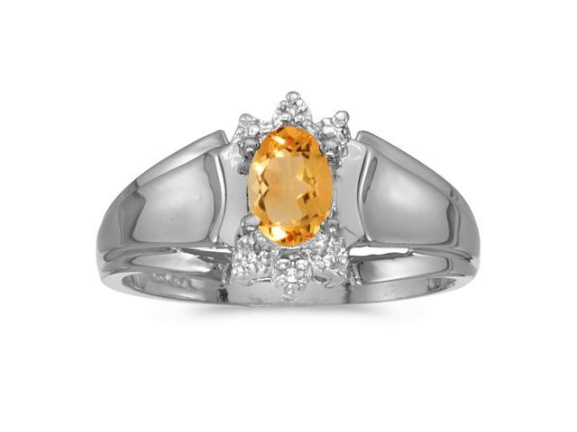 14k White Gold Oval Citrine And Diamond Ring (Size 8.5)