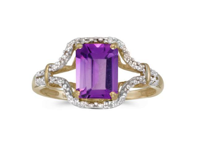 14k Yellow Gold Emerald-cut Amethyst And Diamond Ring (Size 5)