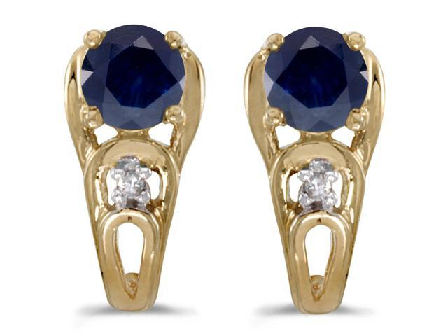 14k Yellow Gold Round Sapphire And Diamond Earrings