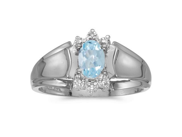 14k White Gold Oval Aquamarine And Diamond Ring (Size 8.5)