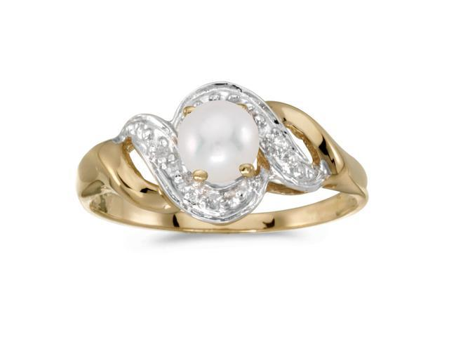 14k Yellow Gold Freshwater Cultured Pearl And Diamond Swirl Ring (Size 5)