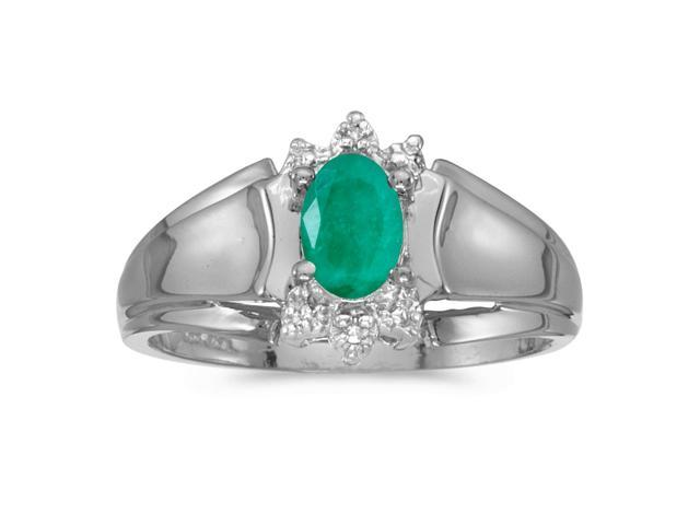 10k White Gold Oval Emerald And Diamond Ring (Size 9)